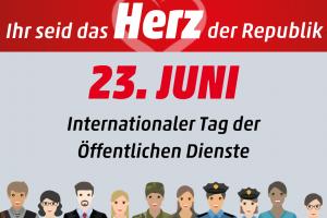 Am 23.6. feiern wir den internationalen Tag der öffentlichen Dienste!